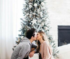 couple, christmas, and kiss image