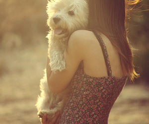 girl, dog, and friends image
