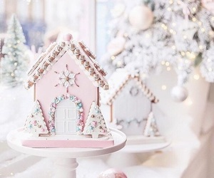 christmas, pink, and dessert image