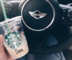 mini cooper, photography, and starbucks image