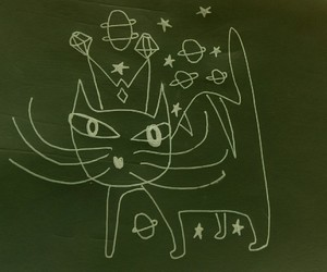cat, doodle, and space image