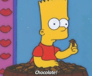 chocolate, bart simpson, and food image