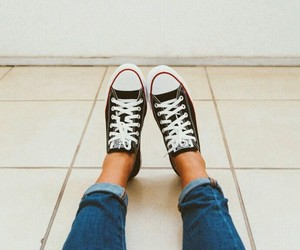 all star, jeans, and converse image
