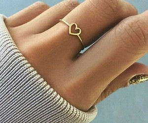 ring, heart, and gold image