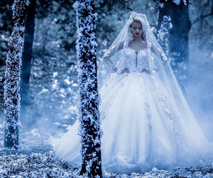 bride, forest, and happy image