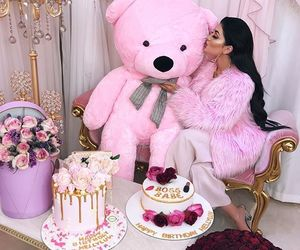 cake, champagne, and teddy bear image