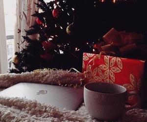 christmas tree, coffee, and gift image