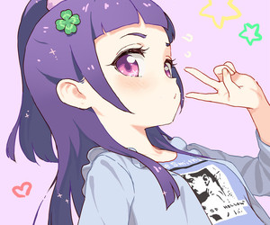 anime girl, kawaii, and purple hair image
