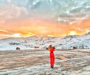 girls, mountain, and sky image