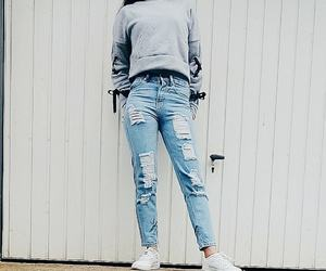 blue, boyfriend jeans, and fashion image