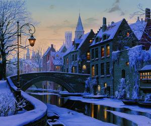 winter, snow, and belgium image