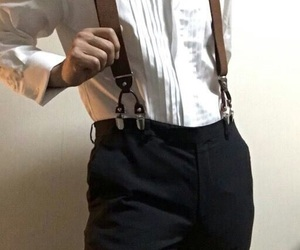 male, outfit, and suspenders image