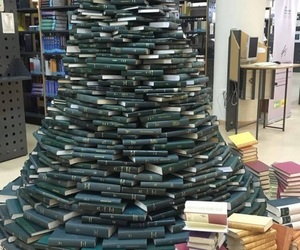 books, tree, and love image