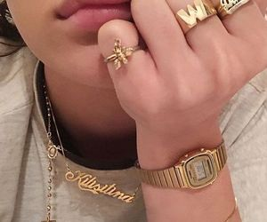 gold, jewelry, and lips image