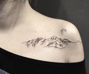 tattoo, moon, and mountain image