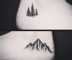 ankle, black and white, and mountain image