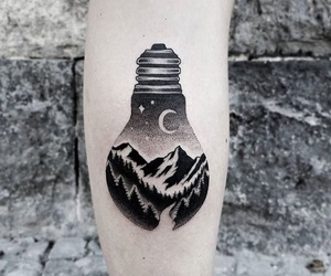 moon, tattoo, and mountain image