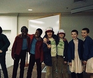 cast, bts, and stranger things image