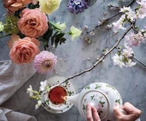 flowers, tea, and beautiful image
