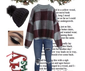 beanie, christmas, and jeans image