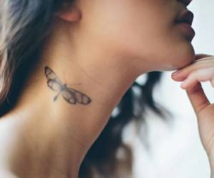tattoo, butterfly, and neck image
