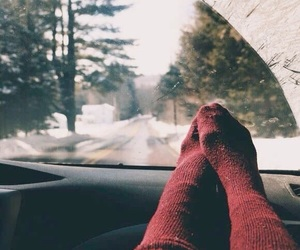 winter, socks, and snow image