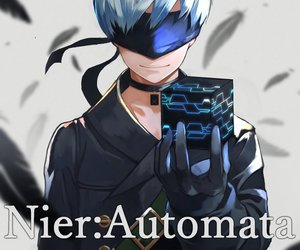 android, anime, and blindfold image