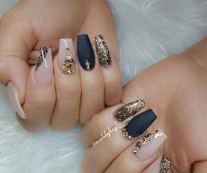 black, black nail polish, and gold image
