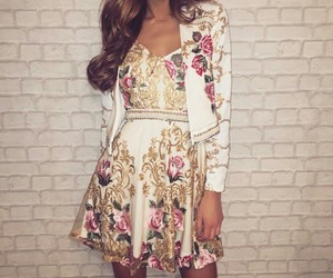 dress, fashion, and flowers floral image