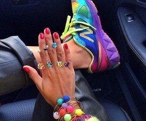 girl, rainbow, and nails image