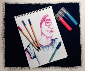 art, colored pencil, and drawing image