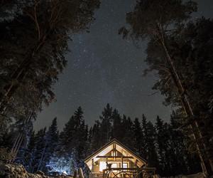 house, stars, and night image