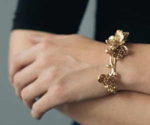 bracelet, gold, and hand image