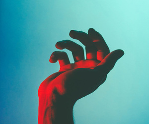 hand, blue, and red image
