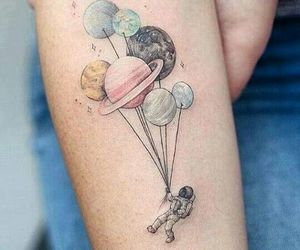 tattoo, planet, and astronaut image