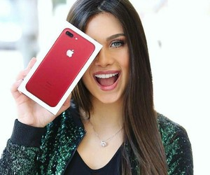 iphone, model, and red image