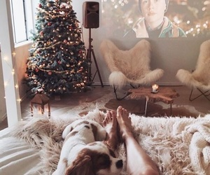 christmas tree, faux fur rug, and perfect vibe image