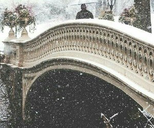 snow, winter, and bridge image