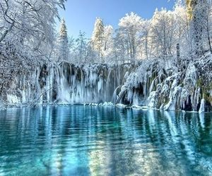winter, ice, and lake image