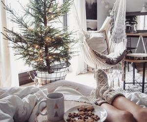 christmas, coffee, and girl image