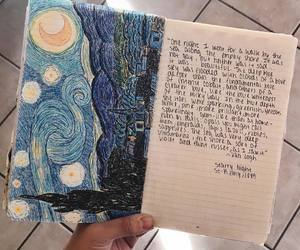 art, starry night, and journal image