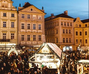architecture, buildings, and christmas lights image
