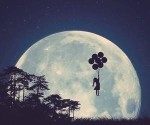 moon, art, and balloons image