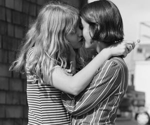 lesbian, love, and black and white image