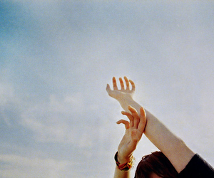 sky, hands, and vintage image