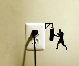 boxer, light switch decal, and boxing image