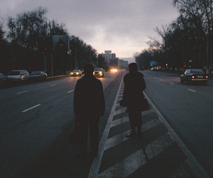 grunge, couple, and city image