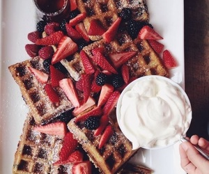 food, waffles, and life image