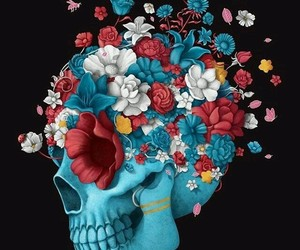 skull, butterfly, and flowers image