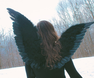 angel, snow, and wings image